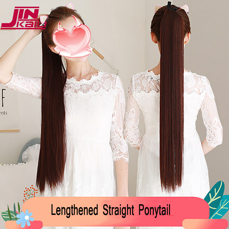 "JINKAILI  85cm 32"" Super Long Straight Clip In Tail False Hair Ponytail Hairpiece With Hairpins Synthetic Pony Tail Extensions 5"