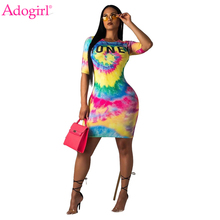 Adogirl Starry Tie Dye Letter Print Women Summer Dress O Neck Shorts Sleeve Slim Bodycon Mini Casual Dress Long T-shirt Dresses adogirl tie dye print women casual dress o neck short sleeve bodycon sheer mini t shirt dresses female night club party outfits