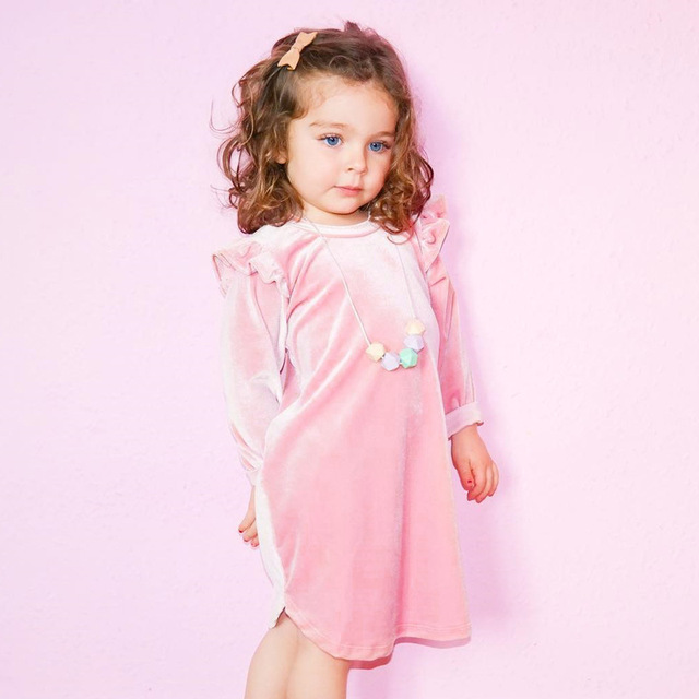 77656d89f066 Sunshine   Rainy Ins Pink Baby Princess Dress For Girls Flying ...