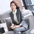 2016 New Formal Women Formal Suits with Pant for Office Ladies Business V-neck Suit Red Black Gray Professional Workwear Clothes