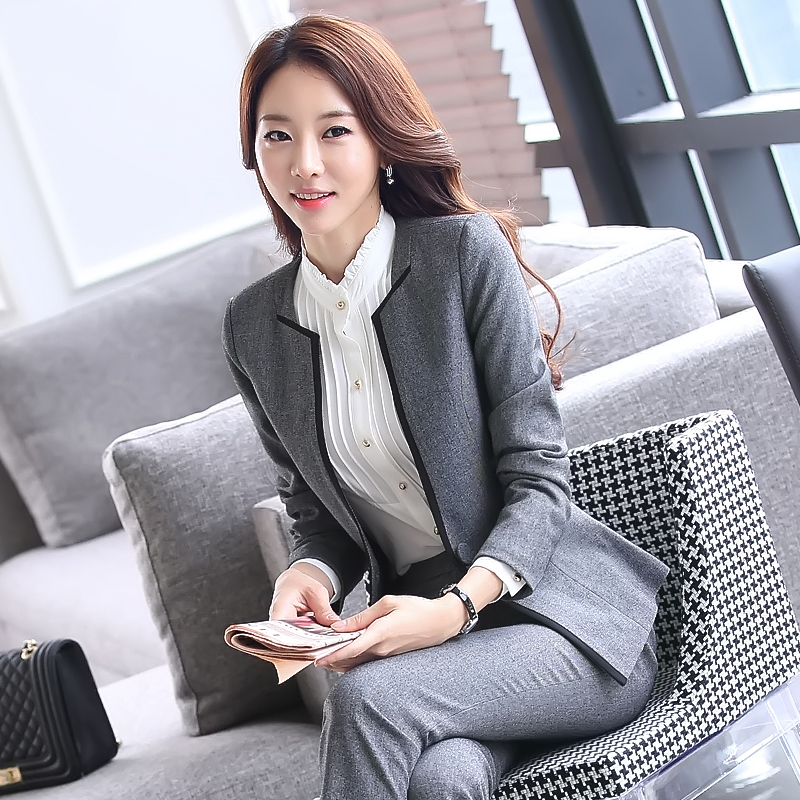 Lenshin 2 Pieces Set New Women Formal Pant Suit For Office Ladies Business V-neck Gray Professional Work Wear