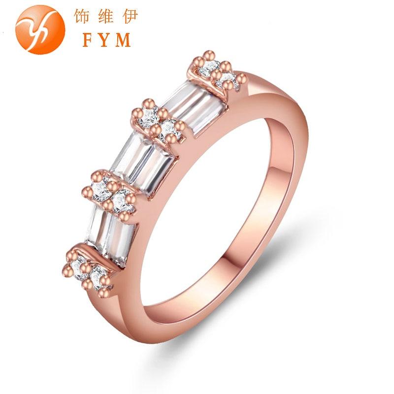 Женская Прекрасный Палец Обручальное Кольца Роскошные Цирконий Роуз Позолоченные Обручальные кольца Украшения для Женщин Невеста Promise Ring