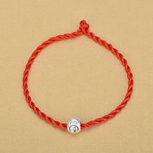 цена на Braided Red Rope Chain Bracelets For Women Delicate 925 Sterling Silver Beads Bracelet