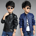2015 Children Fashion Outerwear Spring & Autumn New baby Boys Coats Faux Leather coat jacket children clothing top suit 100-160