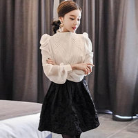 2018 Autumn White Black Chiffon Blouse Full Puff Sleeve Stand Collar Vintage Top Women Office Casual Shirts