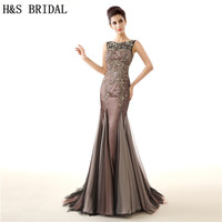 H&S BRIDAL Vintage Brown Mermaid Crystals Beading Luxury Mother Of The Bride Dresses vestido de festa evening dress long 2017