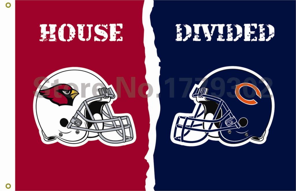 Arizona Cardinals Chicago Bears helmets House Divided Flag3ft x 5ft