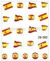 Diseño de la bandera 20 hoja/LOT España Copa Mundial de la Bandera ETIQUETA del AGUA DEL ARTE DEL CLAVO Accesorios Fútbol Serie Del Tatuaje Del Clavo, 22 diseño Diferente