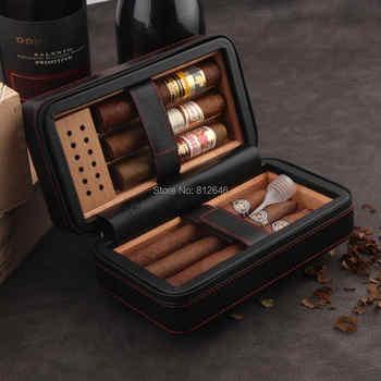 GALINER Travel Cigar Humidor Box Leather Cigar Case Set W/ Humidifier Cedar Wood Portable 4 Holder Cigar Box For COHIBA Cigars - DISCOUNT ITEM  35% OFF All Category