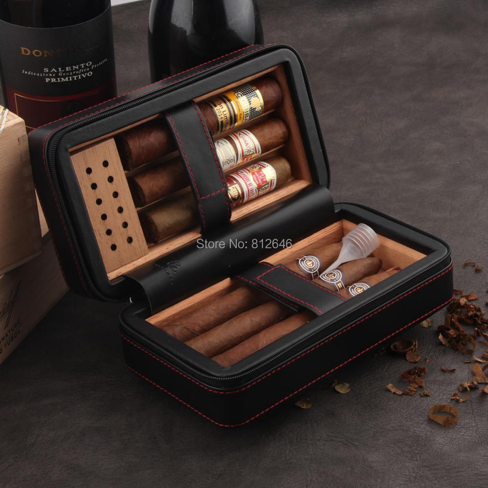 GALINER Travel Leather Cigar Humidor Case Set With Humidifier Cedar Wood lined Portable Smoking Box Holder Tray For Cohiba CigarGALINER Travel Leather Cigar Humidor Case Set With Humidifier Cedar Wood lined Portable Smoking Box Holder Tray For Cohiba Cigar