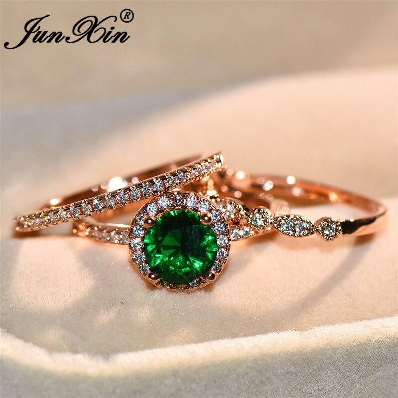 Junxin Vintage Green Zircon Engagement Ring Set Trendy