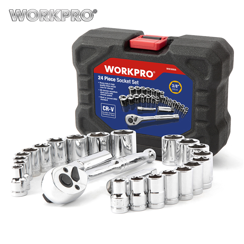 WORKPRO 24PC Socket Set 3/8 Ratchet Wrench Socket Spanner Metric SAE Sockets Repair Tool Set veconor 12 pieces flexible head ratchet wrench spanner set combination key wrench set 8 19mm with free storage pouch
