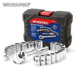 Workpro 24 pc conjunto de ferramentas chave torque soquete conjunto 3/8 chave de catraca soquete chave inglesa