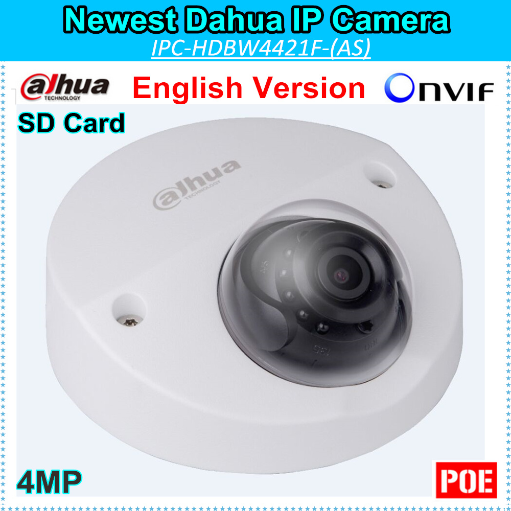 English Firmware Dahua 4MP IP Camera DH-IPC-HDBW4421F 2688*1520 Support Onvif and SD Card WDR IR distance 20m IPC-HDBW4421F original english firmware dahua full hd 4mp poe ip camera dh ipc hfw4421s bullet outdoor camera