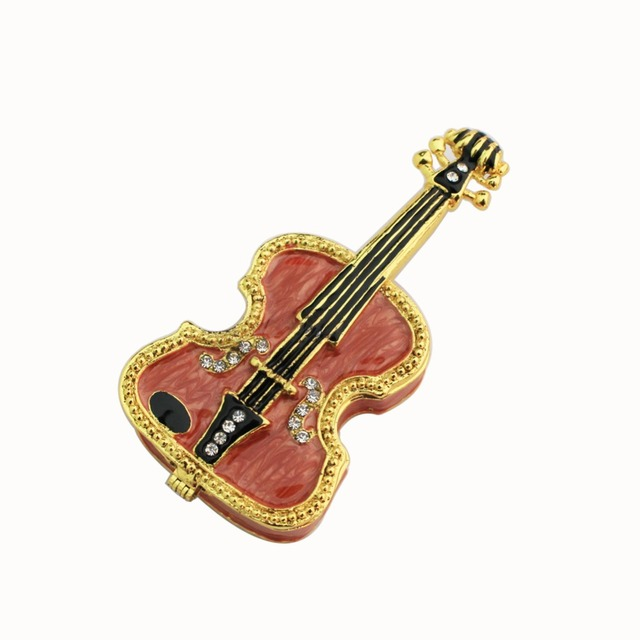 Violin Shape Zinc Alloy Jewelry Box Crystal Rhinestone Free Shipping  Christmas Gift
