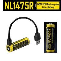 NITECORE NL1475R 1 pcs Micro porto de carregamento USB recarregável 750 baterias de 14500 mAh 3.6 V saída da bateria 2A atualizado NL147|Acessórios portáteis de iluminação|   -