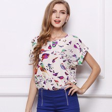 2019 Womens Explosions Hot Sale Listed Short-sleeved Loose Large Size Shirt Printed Chiffon