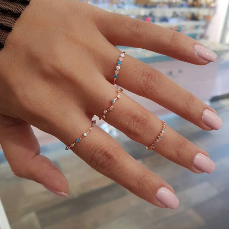 4 Pcs/ Set Fashion Small Wave Colorful Round Simple Geometry Crystal Gold Exquisite Ring Set Women Charm Jewelry Gifts for Women
