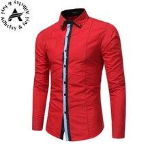 New Designer Slim Fit Mens Casual Shirt Fashion Long Sleeve Classic Social Shirt Male Shirts Chemise Homme