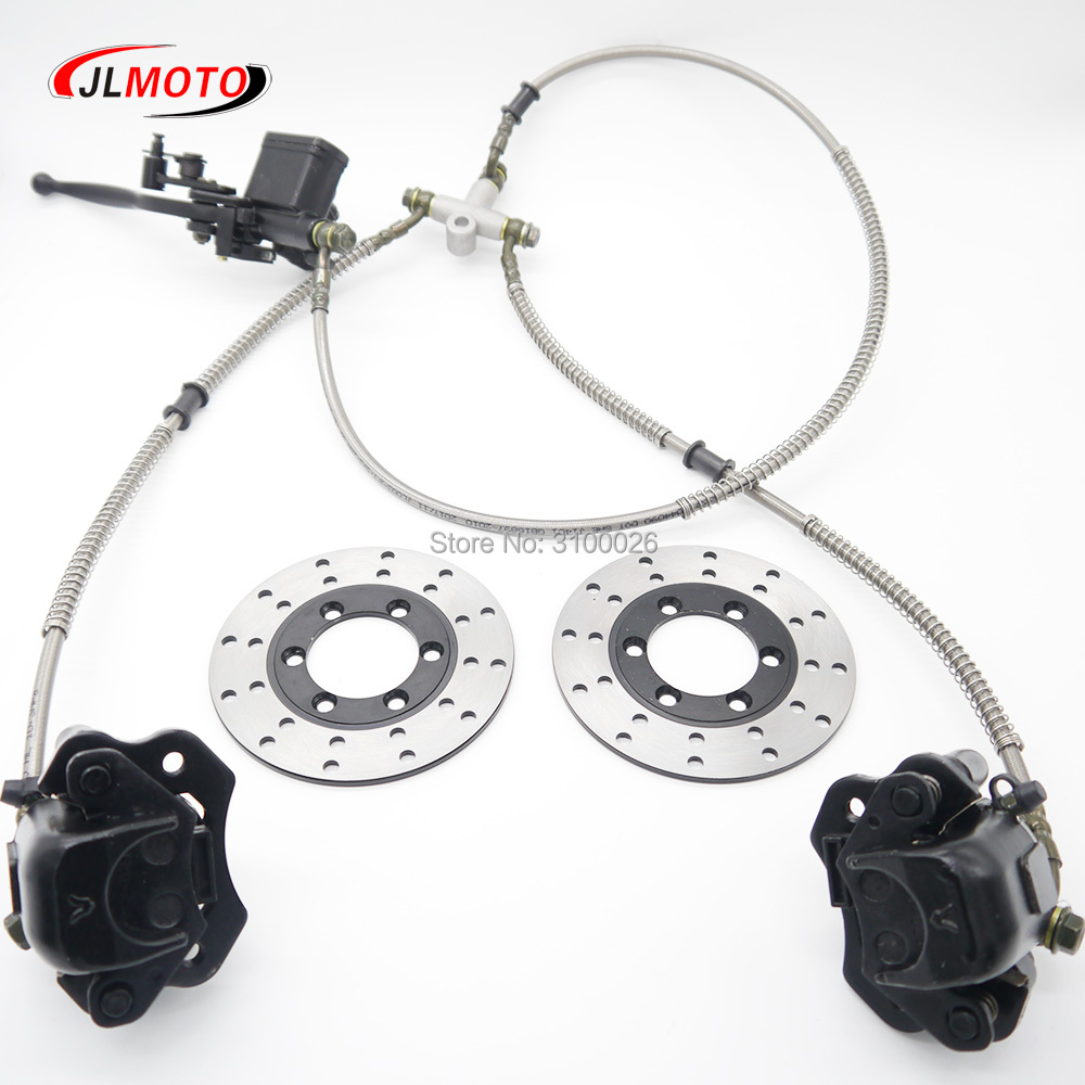 1Set 2 In 1 Front Handle Lever Hydraulic Disc Brake 130mm Disc Fit For ATV 350cc 200cc 250cc  Bike Go Kart Buggy Scooter Parts
