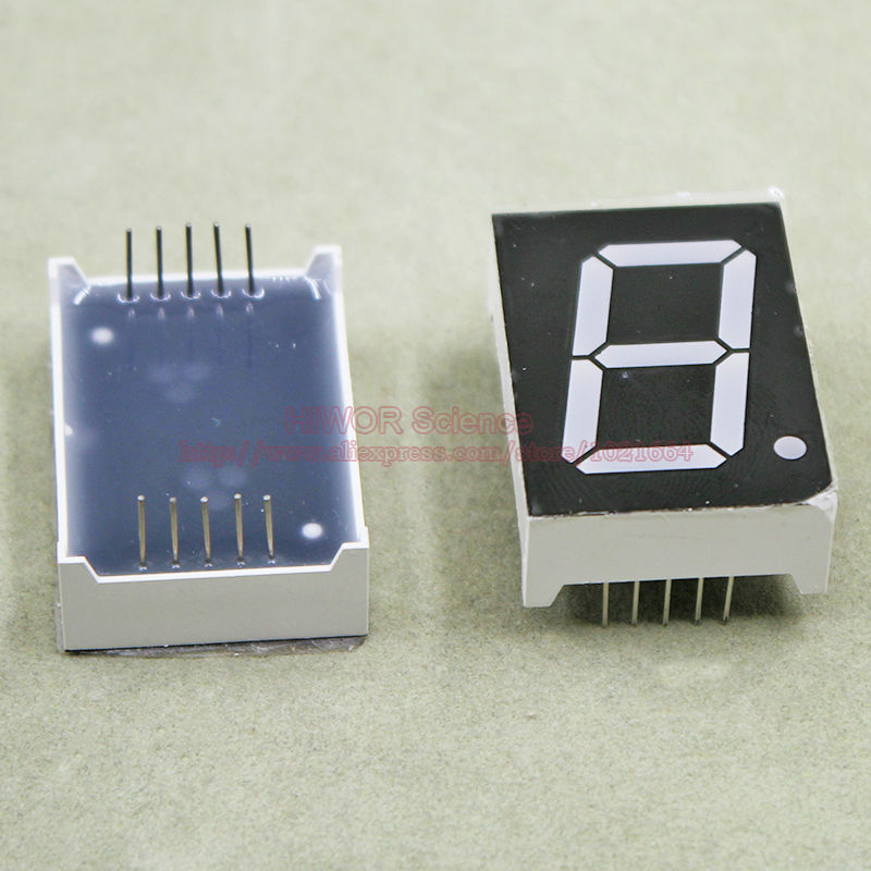 (10pcs/lot) 10 Pins 10011BR 1 Inch 1 Bit Digit 7 Segment Red LED Display Share Common Anode Digital Display