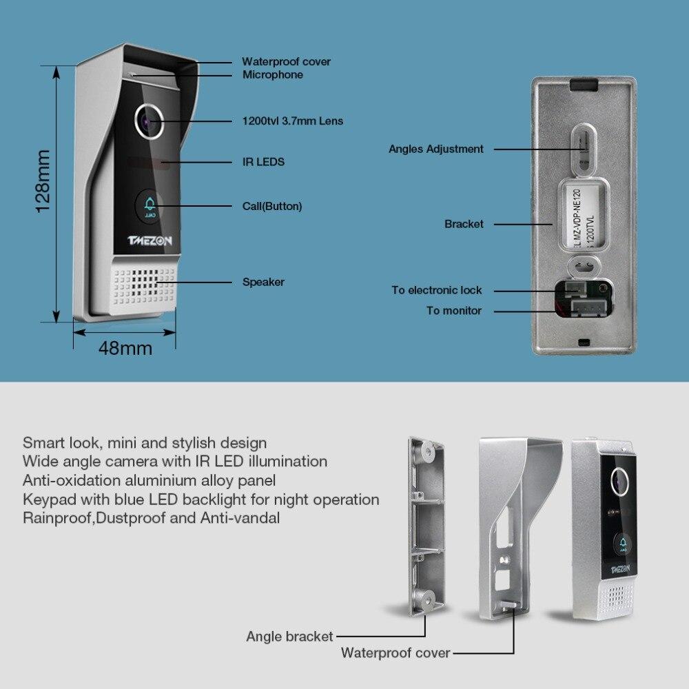 TMEZON 7 дюймов TFT Проводная система видеодомофона с 1x 1200TVL Водонепроницаемый дверной телефон камера, поддержка записи/снимка дверной Звонок - 4
