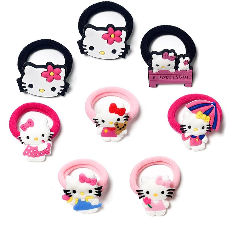 1-8pcs Kitty Hot Cartoon Hair Bands Hairpins Barrettes Kids Headwear Multicolor Girls Hair Ropes Hair Travel Accessories