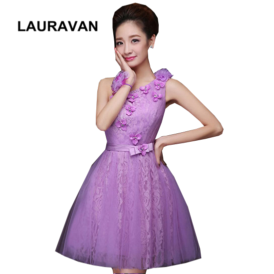 Lavender Formal Tulle Bridesmaid Dress One Shoulder Modest Girls