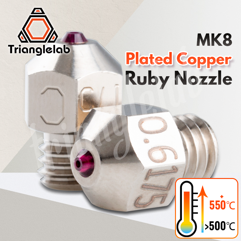 Trianglelab MK8 Plated Copper Ruby Nozzle Ultra High Temperature Compatible With Special Materials PETG ABS PEI PEEK NYLON