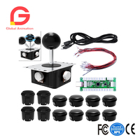 PC Game Joystick DIY Kits, Zero Delay Arcade 3D Game Handle and USB Encoder Board Support PS3 Game Console,Raspberry Pi, Android