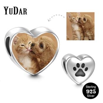 YUDAR персонализированные стерлингового серебра 925 Сердце Фото Шарм Гравировка Щенок Paw Шарм для браслета best Подарки для ребенка YDS-1116-6