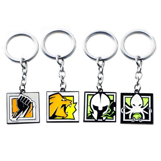 US $2 99 |FPS Game Rainbow Six Siege R6 Keychain Zinc Alloy Keyring Metal  Pendant Men Women jewelry Fans Gift ALIBI LION FINKA MAESTRO-in Key Chains