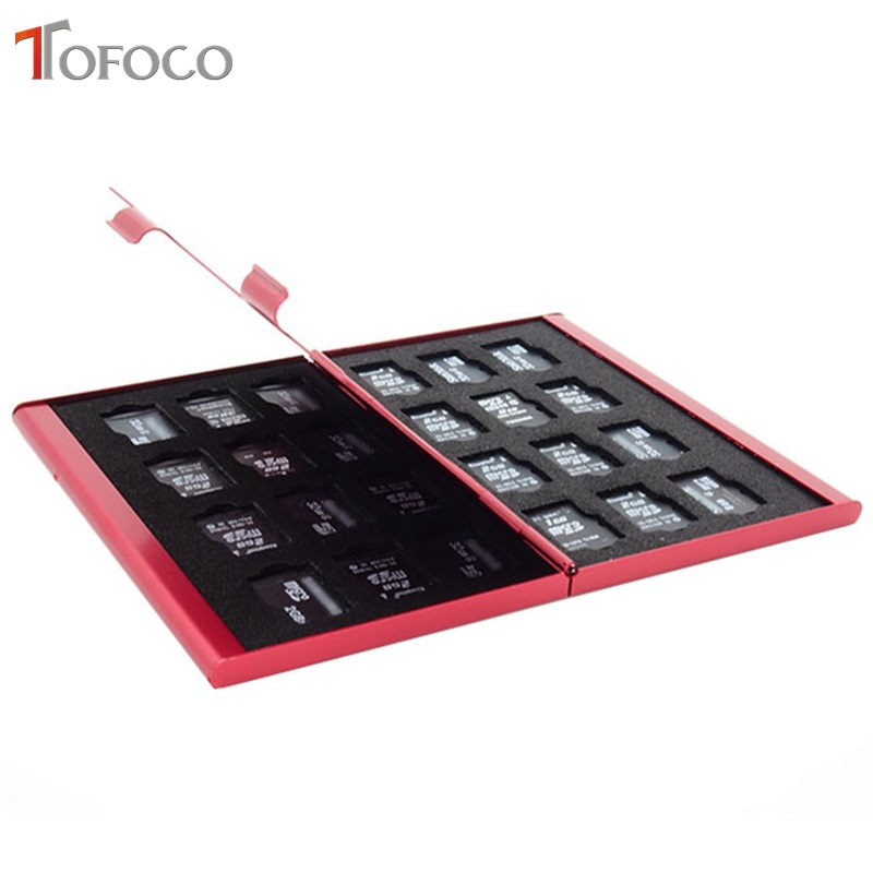 TOFOCO Aluminum Memory Card Storage Case Box Holders For Micro Memory SD Card 24TF Silver/Black/Red Color