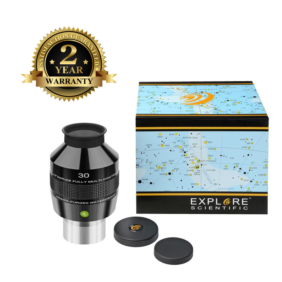 New Explore Scientific Eyepiece 82 Degree Extreme Wide Field Waterproof 2inch 30mm Argon-Purged EMD Coating