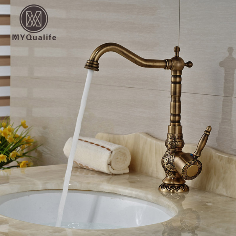 Home Decoration Bathroom Sink Mixer Faucet Crane Single Handle Water Tap Brass Antique Faucet Hot and Cold Water micoe hot and cold water basin faucet mixer single handle single hole modern style chrome tap square multi function m hc203