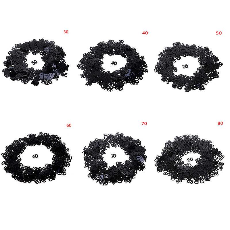 Gran oferta mesa de fiesta de feliz cumpleaños decoración de dispersión negro plata número mezclado Digitals 30 40 50 60 70 80 confeti