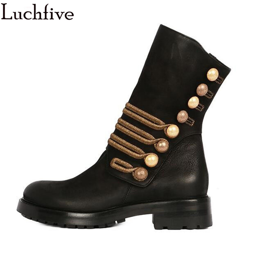 Winter Ankle Boots button nubuck leather martin mid calf boots platform heel embroidery Motorcycle casual short boots Women stylish women s mid calf boots with solid color and fringe design