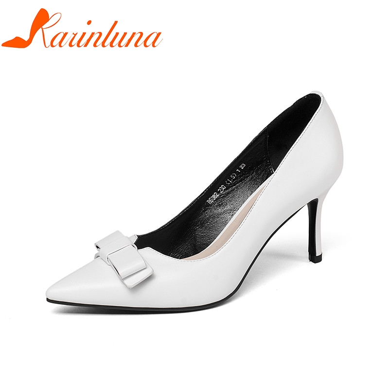 KARINLUNA 2018 Spring Autumn Cow Leather Elegant Bow Women Pumps High Thin Heels Shallow Ol Shoes Woman Pointed Toe Work Shoes lapolaka cow genuine leather mix color spring summer pointed toe women shoes pumps thin high heels shoes woman