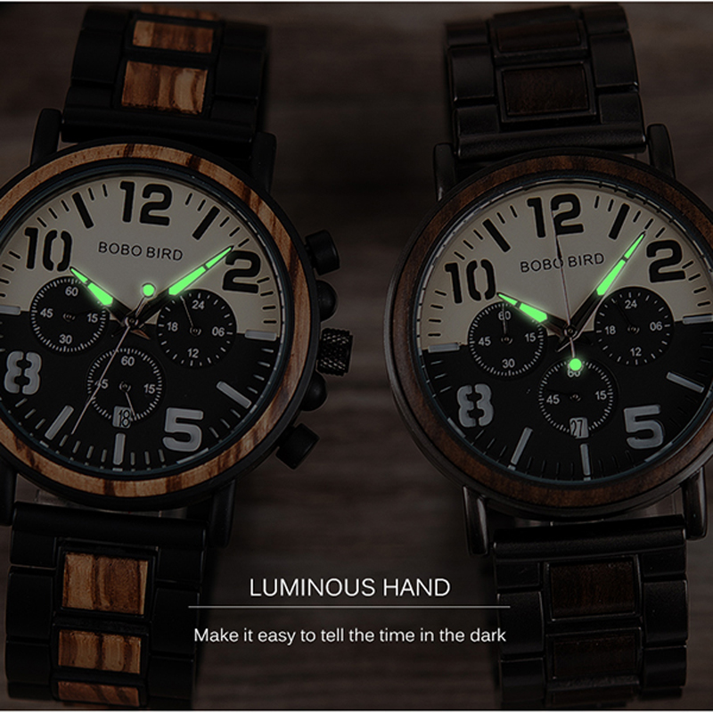 BOBO BIRD Wooden Stainless Steel Watch Men Water Resistant Timepieces Chronograph Quartz Watches relogio masculino Men