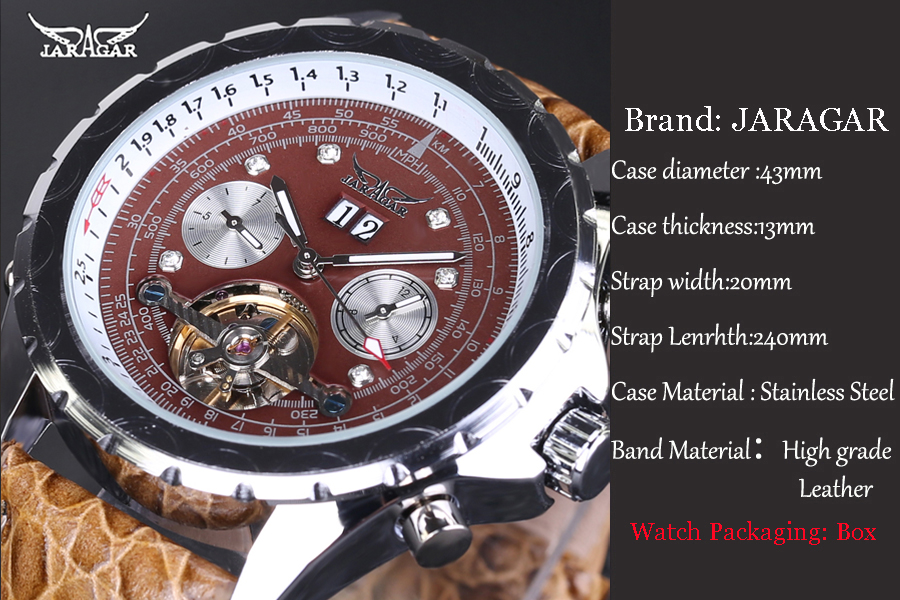39826b64bd6 Original Volante Homens Relógio Automático de Couro Relógios Mecânicos  JARAGAR Tourbillon relógio de pulso relogio masculino Com Caixa de Relógio