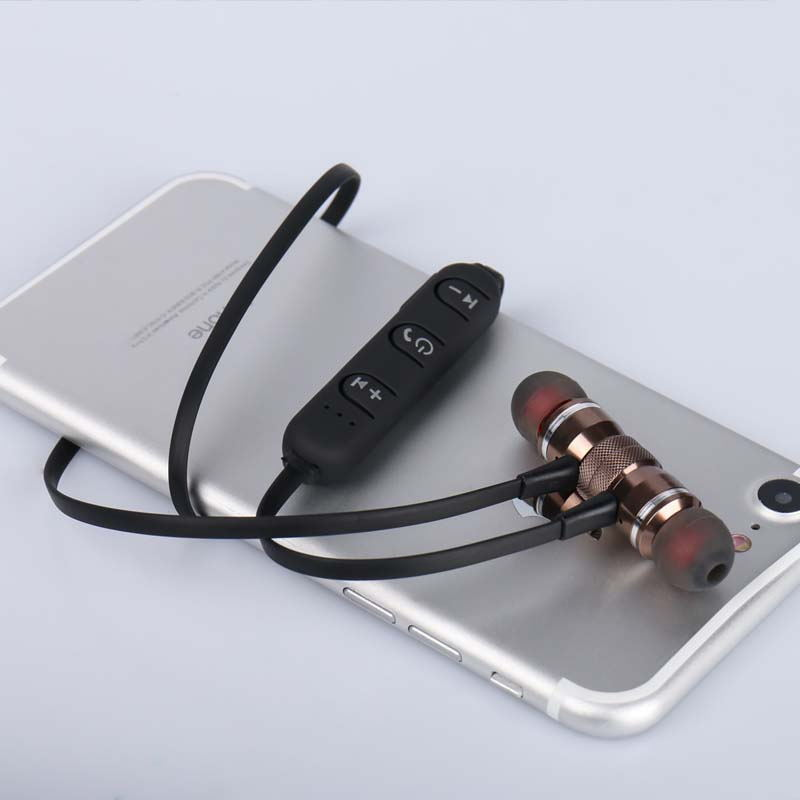 BoneRtop Sports Bluetooth Earphone Metal Wireless Headphone Magnet Earpiece Stereo Handsfree Headset for Samsung Xiaomi iPhone