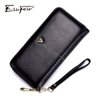 ESUFEIR Genuine Leather Women Wallet Luxury Brand Standard Wallets Designer Purse Female Daily Clutch Bag Cards