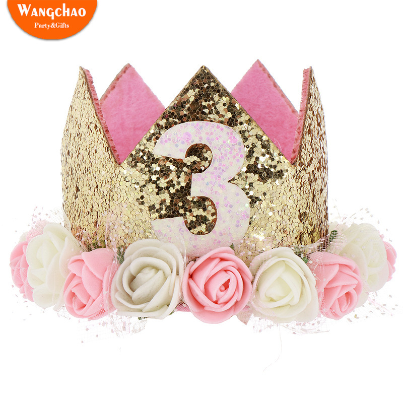 One Years old Rose Crown Hairband Baby Shower Party Supplies First Happy Birthday Girl Party Happy Birthday Baby Photo Props in Party DIY Decorations from Home Garden