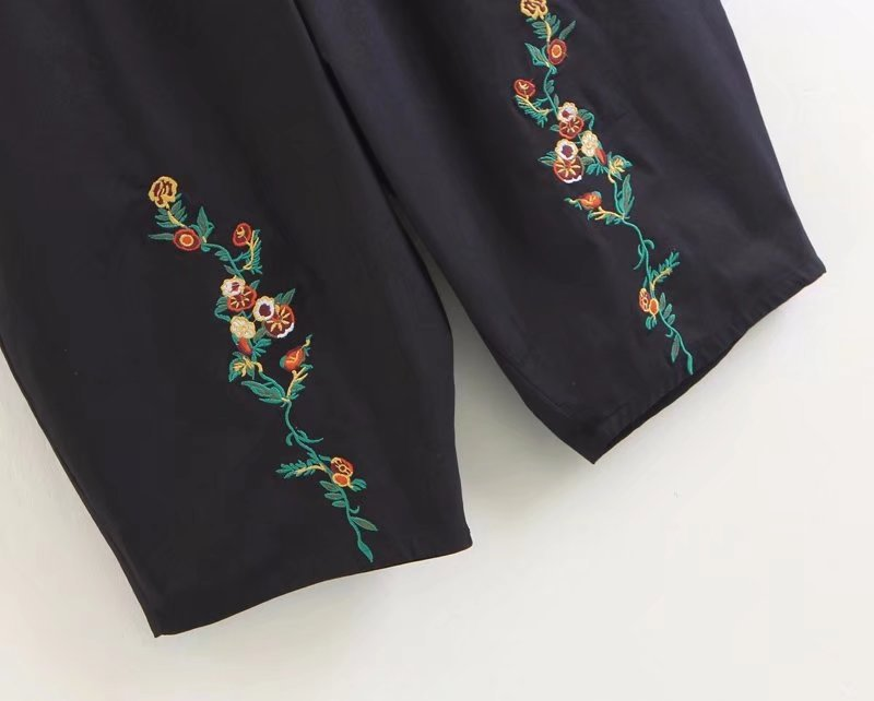 2018 New Autumn Women Loose Cotton Linen Trouser Casual Elastic Waist Floral Embroidery Vintage Female Wide Leg Pants