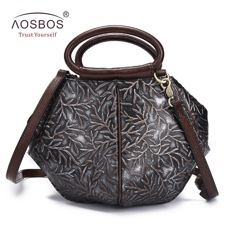 Aosbos Brand Women Genuine Leather Handbags High Quality Vintage Embossing Shoulder Bag Female Casual Messenger Bags Handbag hibo women leather handbags women bags messenger bags shoulder bag high quality handbag female pouch