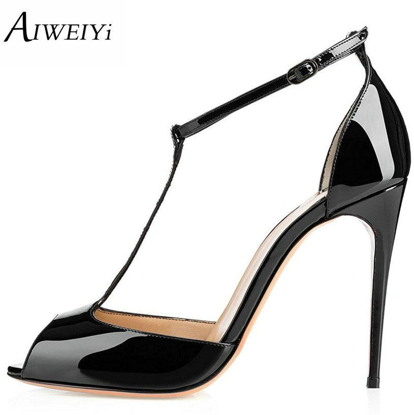 AIWEIYi Black High Heels Sandals Women's Fashion Shoes Open toe T Strap Gladiator Sandals Ankle Buckle Strap Summer Dress Shoes цены онлайн
