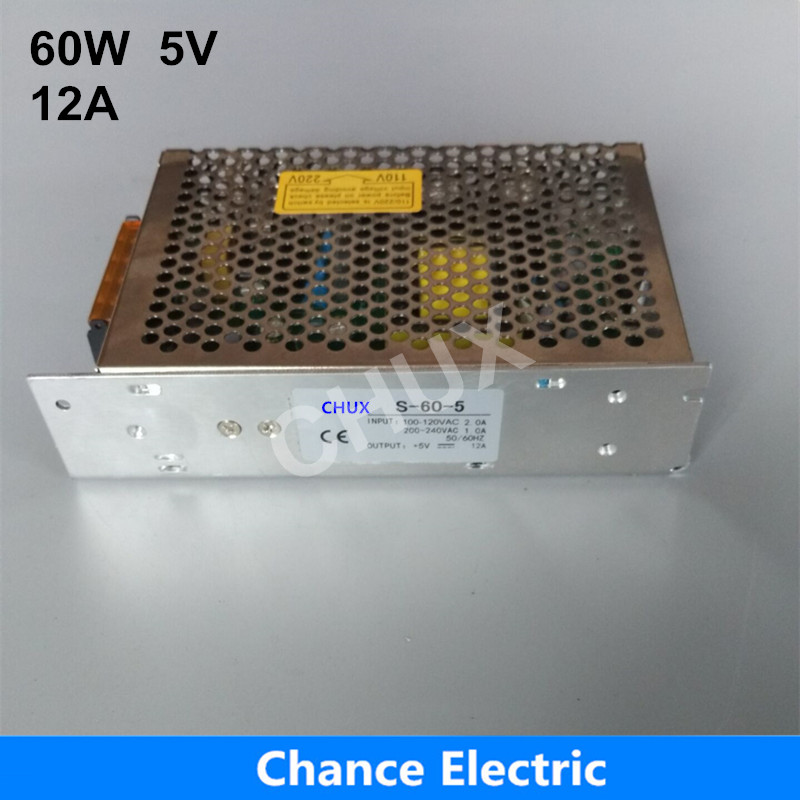 Single Output Switching Power Supply 5v CE ROHS DC To AC S-60W-5V Power Supply 60W meanwell 12v 350w ul certificated nes series switching power supply 85 264v ac to 12v dc