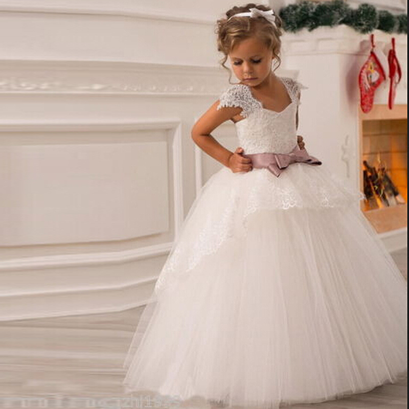 2017 Flower Girl Dresses With Sashes Cap Sleeves Ball Gown