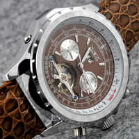 Luxury Brand JARAGAR Men Army Mechanical Watch Luxury Automatic Tourbillon Sport Watches Calendar Date Leather Relogio Masculino