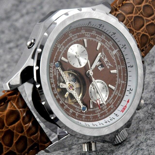 Marque de luxe JARAGAR hommes armée montre mécanique de luxe automatique Tourbillon Sport montres calendrier Date cuir Relogio Masculino